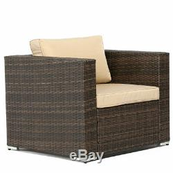 SUNLIT 5 PC Wicker Cushioned Sectional Sofa Set Outdoor Patio Garden Furniture