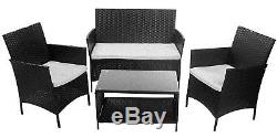 Sale Outdoor 4PCS Patio Rattan Furniture Set Wicker Garden Sofa Table Cushioned