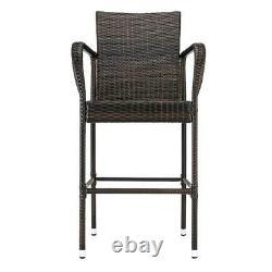 Set of 2 Brown Wicker Bar Stool Furniture Outdoor Backyard Rattan Chair Patio