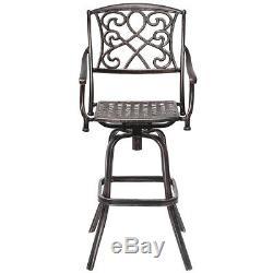Set of 2 Cast Aluminum Swivel Bar Stool Patio Furniture Antique Outdoor New