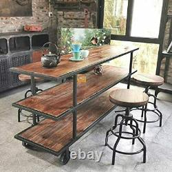 Set of 2 Swivel Bar Stools Industrial Adjustable Counter Height Bar Chair 24in