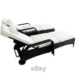 Set of 2 Wicker Patio Chaise Lounge Sofa Rattan Outdoor Chairs Couch Poolside