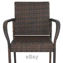 Set of 4 Outdoor Brown Wicker Barstool Patio Furniture Bar Stool 250lbs Capacity