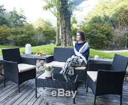 Sofa sets 4 PC Outdoor Patio Furniture Sets Rattan Sofa Set With Cushion