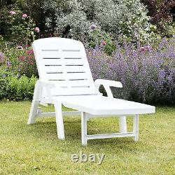 Sun Lounger Garden Recliner Foldable White Plastic Chair Outdoor Furniture Patio