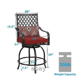 Swivel Bar Chairs Set of 2 with Cushion Bistro Patio Bar Stool Outdoor Furniture
