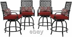 Swivel Bar Chairs Set of 4 with Cushion Patio Chair Bistro Outdoor Furniture Red