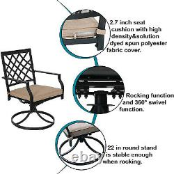 Swivel Patio Chair Set of 2 Metal Outdoor Chairs With Cushion Garden Furniture