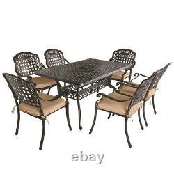 TITIMO 7 Piece Outdoor Cast Aluminum Patio Dining Set Conversation Furniture Set