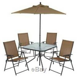 Tan Outdoor Patio 6-Pc Furniture Dining Set Backyard Patio Table Chairs Umbrella