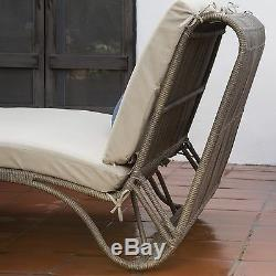 Taupe Patio Day Bed Double Chaise Lounge Outdoor Home Furniture Poolside Deck