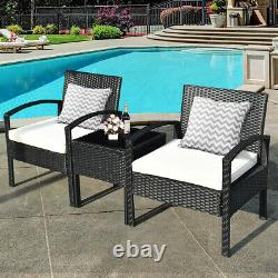 Topbuy 3 Pieces Patio Set Outdoor Wicker Rattan Furniture With Cushions