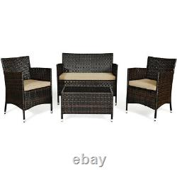 Topbuy 4 PCS Patio Rattan Wicker Furniture Set Outdoor with Cushions