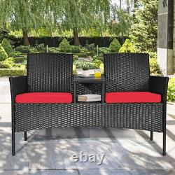 Topbuy Outdoor Rattan Furniture Wicker Patio Chair WithCushion Red
