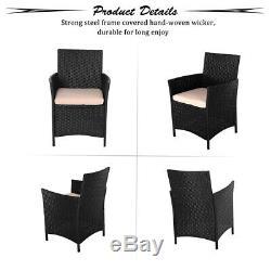 UFI 3 PCS Outdoor Patio Furniture Set Rattan Wicker Chairs & Table Black
