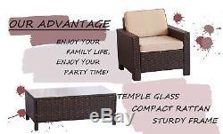 UFI 4 Pcs Outdoor Patio Furniture Set Wicker Rattan Sofa Sectional Set Brown