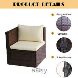 UFI 5 Pcs Outdoor Patio Furniture Set Wicker Rattan Sofa Sectional Set Brown