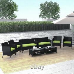 US 8 PCS Patio Furniture Outdoor Garden Conversation Wicker Sofa Set With Cushions