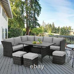 U-MAX 7 Pieces Outdoor Furniture Set Patio Wicker Rattan Sectional Sofa with Table