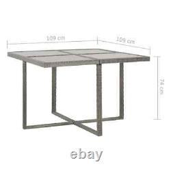 VidaXL 13 Piece Outdoor Dining Set Gray Poly Rattan Garden Patio Chair Table