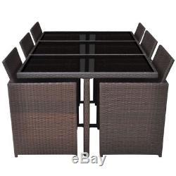 VidaXL 27 pcs Patio Rattan Wicker Garden Dining Set Chairs Table Outdoor Brown