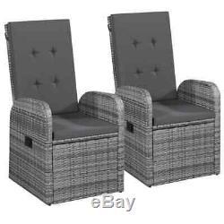 VidaXL 2x Outdoor Armchairs Poly Rattan 41.3 Gray Garden Wicker Patio Chairs