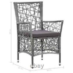 VidaXL 2x Outdoor Chairs with Cushions Poly Rattan Gray Garden Dining Chair