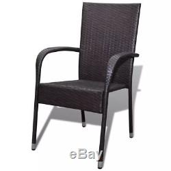 VidaXL 6x Garden Dining Chair Poly Rattan Brown Patio Seat Outdoor Furniture