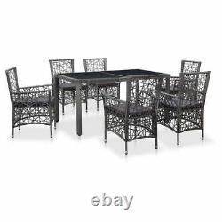 VidaXL 7 Piece Outdoor Dining Set Poly Rattan Gray Patio Furniture Table Chair