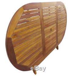 VidaXL 7 Piece Solid Eucalyptus Wood Folding Outdoor Dining Set Garden Patio