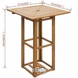 VidaXL Acacia Wood 29.5 Square Bar Table Outdoor Garden Patio Dining Furniture
