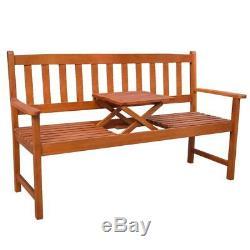 VidaXL Acacia Wood Garden Bench with Integrated Pop-Up Table Outdoor Patio Seat