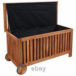VidaXL Cushion Box Outdoor Storage Bench Garden Wooden Patio Pillow Storage