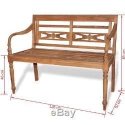 VidaXL Garden Bench Teak Outdoor Home Wooden 2 Seat Seater Furniture Patio Park