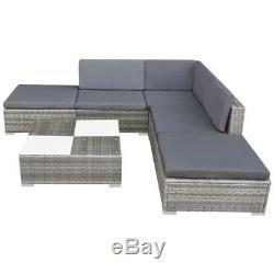 VidaXL Garden Sofa Set 15 Piece Rattan Wicker Patio Outdoor Lounging Furniture