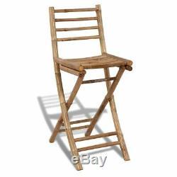VidaXL Outdoor Bar Counter Set 3 Pieces Bamboo Garden Patio Furniture Stool