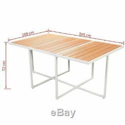 VidaXL Outdoor Dining Set 11 Pieces WPC 65x39.4x28.3 Patio Garden Furniture