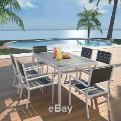VidaXL Outdoor Dining Set 7 Pieces WPC 59.1x35.4x29.1 Black Patio Furniture