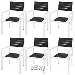 Cool Vidaxl Outdoor Dining Set 7 Pieces Wpc 59 1X35 4X29 1 Black Machost Co Dining Chair Design Ideas Machostcouk