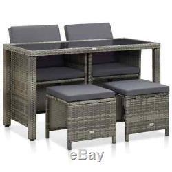VidaXL Outdoor Dining Set with Cushions 5 Pieces Poly Rattan Gray Patio Garden