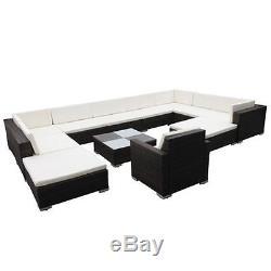 VidaXL Outdoor Lounge Set 35 Piece Wicker Poly Rattan Black Garden Patio Sofa