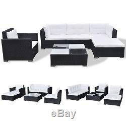 VidaXL Outdoor Sofa Set 17 Piece Wicker Poly Rattan Black Garden Patio lounge