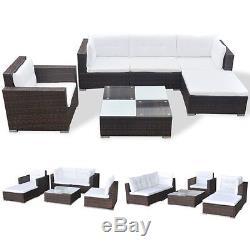 VidaXL Outdoor Sofa Set 17 Piece Wicker Poly Rattan Brown Garden Patio lounge
