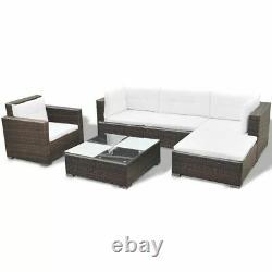 VidaXL Outdoor Sofa Set 17 Pieces Wicker Poly Rattan Brown Garden Patio lounge