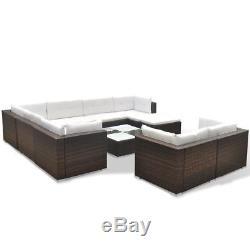 VidaXL Outdoor Sofa Set 32 Piece Wicker Poly Rattan Brown Garden Patio lounge