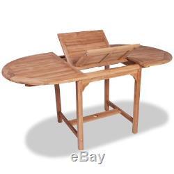 VidaXL Oval Dining Table 6 Folding Chairs Garden Furniture Outdoor Patio Teak