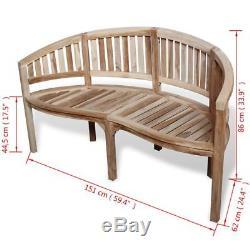 VidaXL Patio Garden Teak Curved Banana Wooden Bench Chair Seat Outdoor 3-Seater