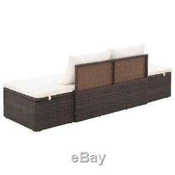 VidaXL Patio Lounge Bed Poly Rattan Wicker Brown Outdoor Day Sun Bed Lounger