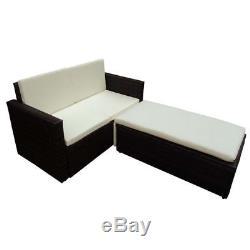 VidaXL Patio Rattan Wicker Furniture Sofa and Stool Set Outdoor Lounge Brown