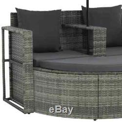 VidaXL Patio Sofa Set with Parasol Poly Rattan Wicker Gray Outdoor Sun Day Bed